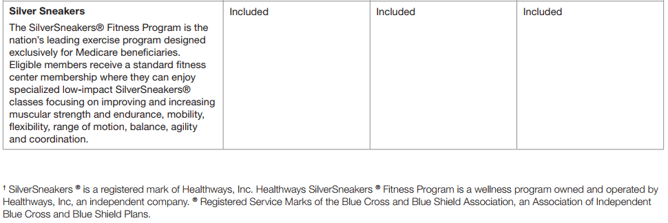 Silver Sneakers Medicare Summary of Benefits
